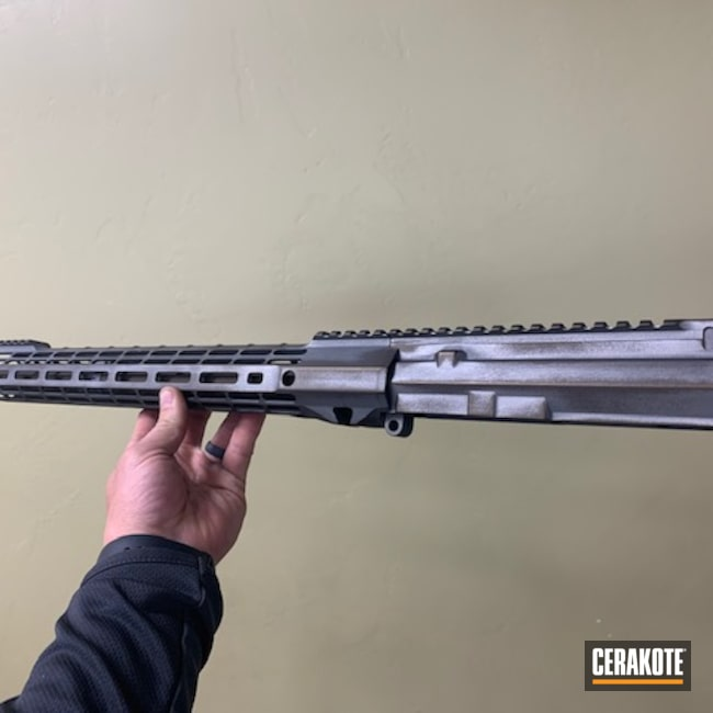 Cerakoted: S.H.O.T,Battleworn,Custom,Two Tone,AR Upper,Battleworn AR-15,Tactical Grey H-227,Midnight Bronze H-294,AR-15