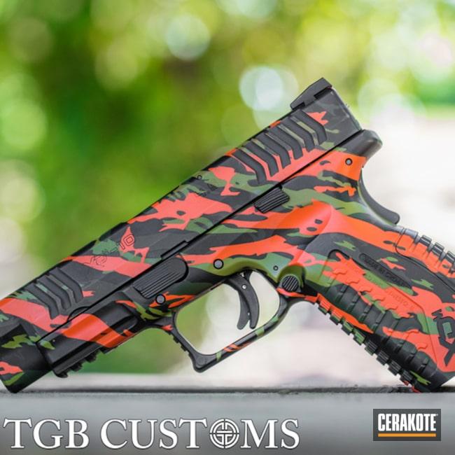 Cerakoted 10mm Vietnam Tiger Stripe Camo Handgun