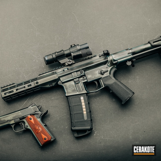 Cerakoted: S.H.O.T,m4e1,NORTHERN LIGHTS H-315,Armor Black H-190,Tactical Rifle,Medford,Aero Precision,Custom Shop,AR Pistol,AR Custom Build,Oregon,black flag armory,Southern Oregon,Custom Build