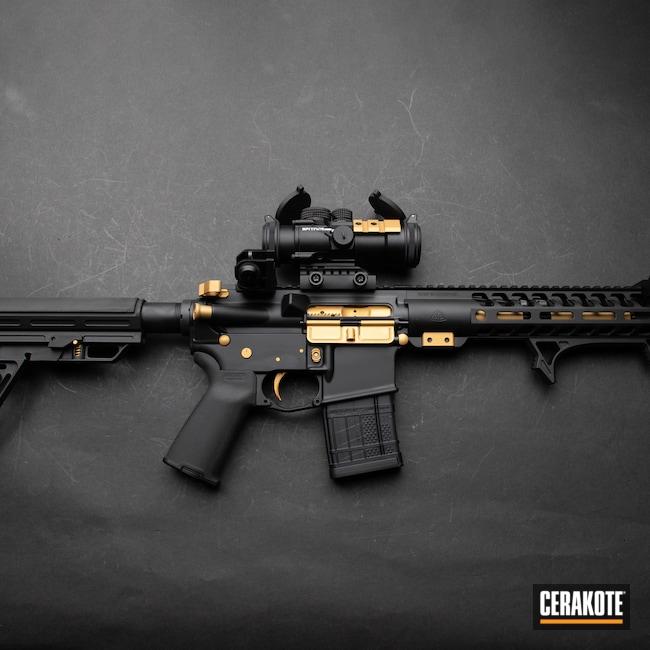 Cerakoted: S.H.O.T,Two Tone,Anderson,Armor Black H-190,Medford,Gold H-122,AM15,NFA,Custom SBR,Oregon,black flag armory,Southern Oregon,SBR