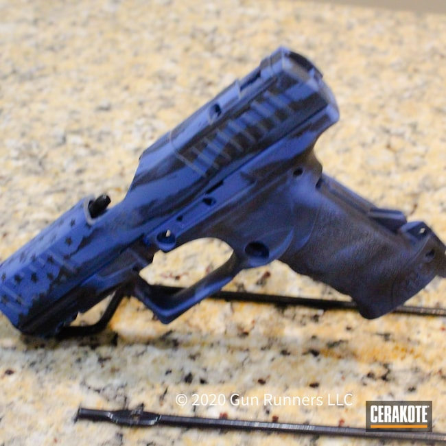 Cerakoted: S.H.O.T,9mm,Walther,NRA Blue H-171,Graphite Black H-146,American Flag