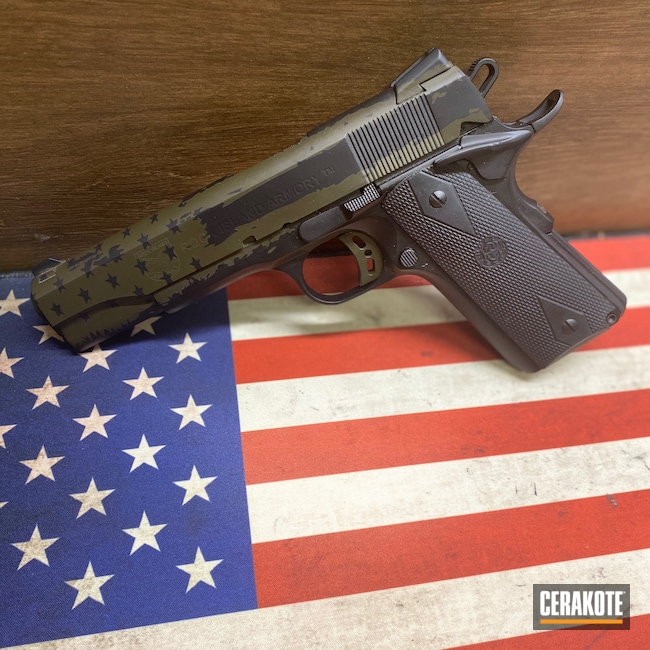 Cerakoted: S.H.O.T,.45,Patriot Coatings,Distressed American Flag,Armor Black H-190,Pistol,1911,MAGPUL® O.D. GREEN H-232