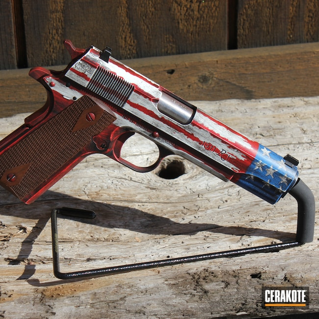 Cerakoted: S.H.O.T,R1,NRA Blue H-171,Ruger,Graphite Black H-146,EDC Pistol,Stormtrooper White H-297,Distressed American Flag,Pistol,American Flag,1911,SMITH & WESSON® RED H-216
