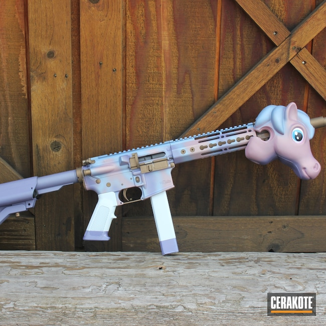 Cerakoted: S.H.O.T,Shimmer Aluminum H-158,PINK CHAMPAGNE H-311,Tactical Rifle,CMMG,AR Pistol,Unicorn,9mm Carbine,Stormtrooper White H-297,Burnt Bronze H-148,9mm Luger,CRUSHED ORCHID H-314,POLAR BLUE H-326