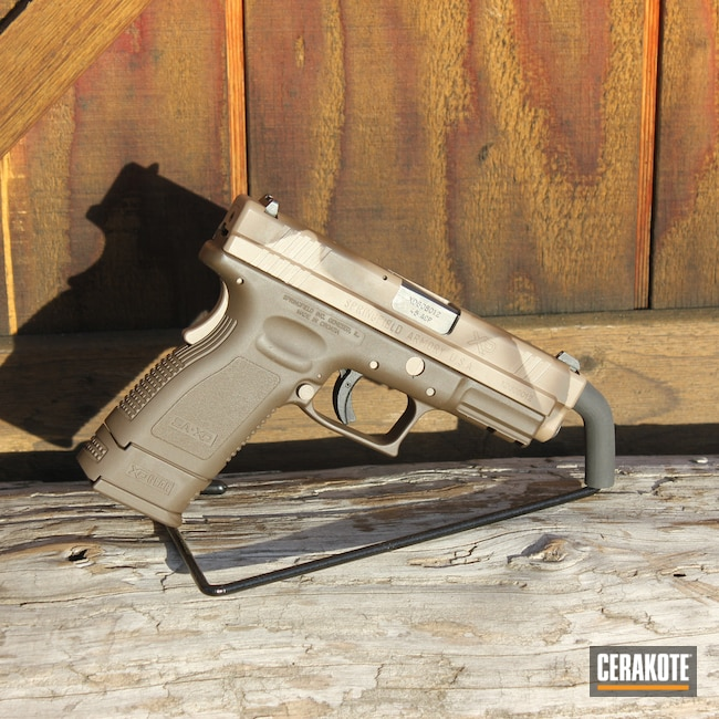 Cerakoted: S.H.O.T,Springfield XD,Springfield XD-9,9mm Luger,Coyote M17 Tan E-170,Pistol,Springfield Armory,Plum Brown H-298