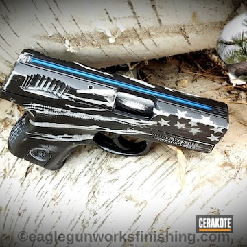 Cerakoted Smith & Wesson .380 Thin Blue Line Theme