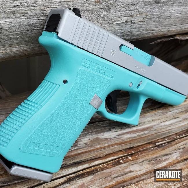 Cerakoted: Glock 19,9mm,Robin's Egg Blue H-175,Satin Aluminum H-151,Pistol,Glock
