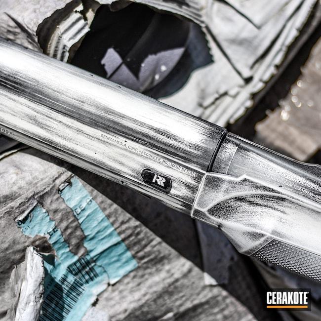 Cerakoted: S.H.O.T,SBE2,Shotgun,Snow Goose,Snow White H-136,Cerakote,Distressed,Benelli,Armor Black H-190,12 Gauge