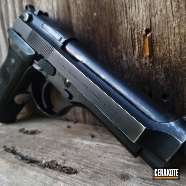 Cerakoted: S.H.O.T,9mm,BLACKOUT E-100,Two Tone,Pistol,Beretta,Beretta 92S,92FS,Noveske Bazooka Green H-189,.40