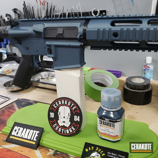 Cerakoted: S.H.O.T,Anderson Mfg.,Tactical Rifle,Blue Titanium H-185,AR-15