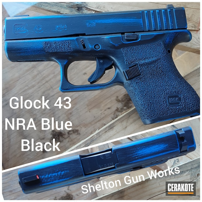 Cerakoted: S.H.O.T,NRA Blue H-171,Distressed,Armor Black H-190,Pistol,Glock,Glock 43