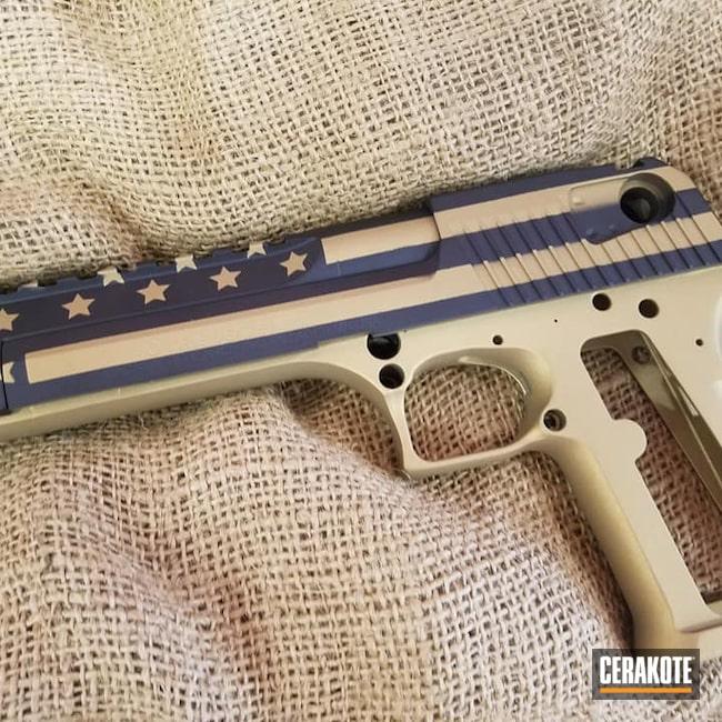 Cerakoted: S.H.O.T,Flag,Desert Eagle,Graphite Black H-146,Pistol,American Flag,Custom Gold,Stars and Stripes,Gold H-122,Handgun