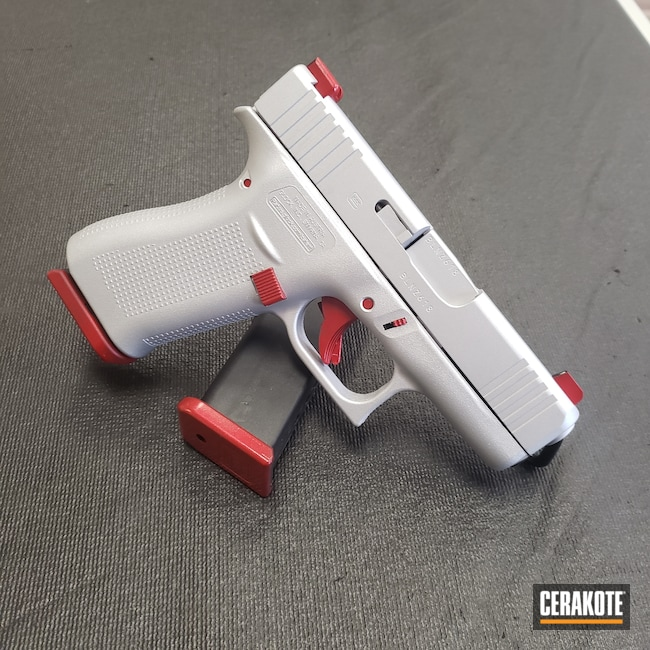 Cerakoted: S.H.O.T,RUBY RED H-306,Two Tone,Satin Aluminum H-151,Pistol,Glock,Guns