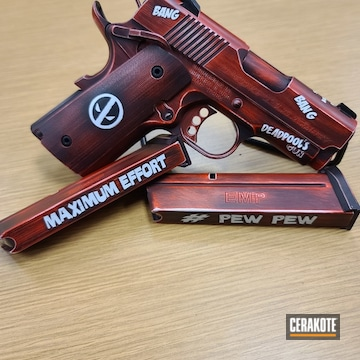Cerakoted Deadpool Theme Custom Handgun