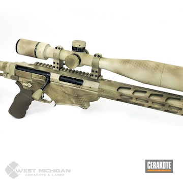 Cerakoted Bolt Action Rifle Net Camo In H-199, H-265 And H-7504m