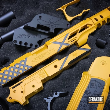 Cerakoted Two Toned Bumblebee Themed Gun Parts In H-144 And H-146