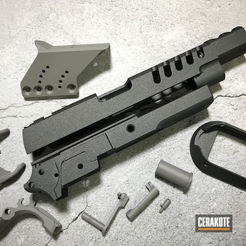Cerakoted Refinished Gun Parts In H-139 And H-112