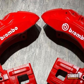Cerakoted Brembo Brake Calipers In C-242 And C-143