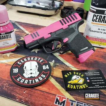 Cerakoted Two Toned Springfield Handgun In H-146 And H-224