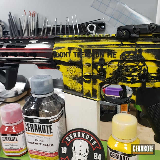 Cerakoted: S.H.O.T,Palmetto State Armory,Corvette Yellow H-144,AR Pistol,NRA Blue H-171,Graphite Black H-146,Stormtrooper White H-297,Tactical Rifle,SMITH & WESSON® RED H-216,No Step On Snek,SNEK-15