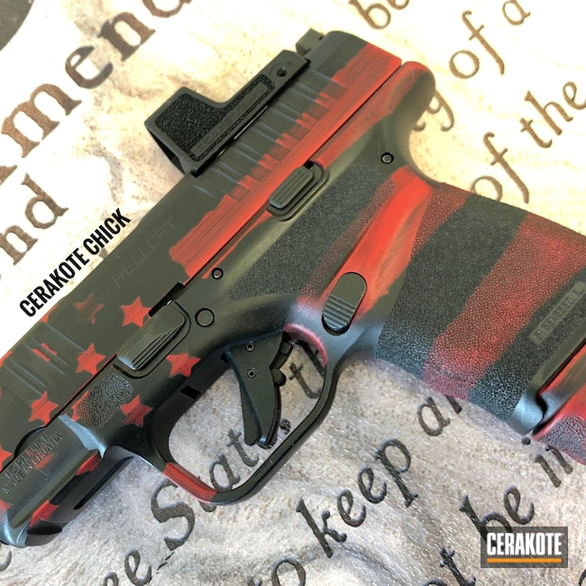 Cerakoted: S.H.O.T,9mm,Graphite Black H-146,Red and Black,HABANERO RED H-318,Pistol,American Flag,Hellcat