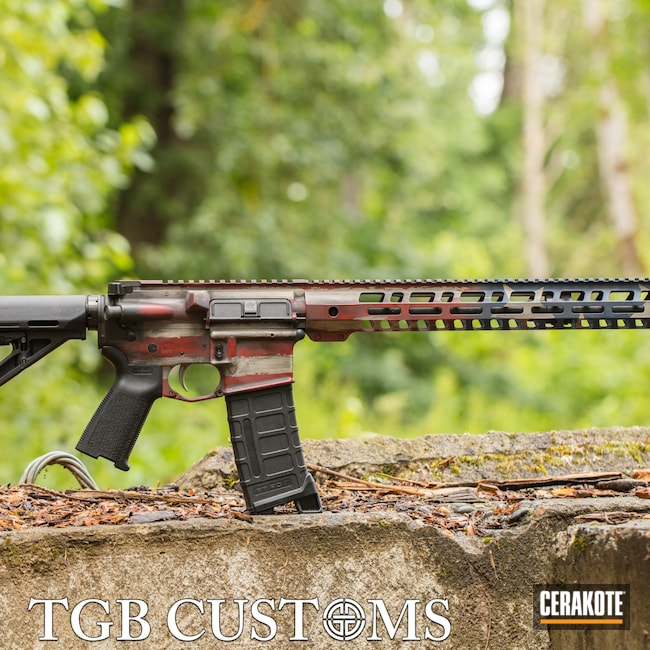 Cerakoted: S.H.O.T,Palmetto State Armory,Crimson H-221,Armor Black H-190,Tactical Rifle,American Flag,5.56,AR,Distressed American Flag,Distressed Flag,KEL-TEC® NAVY BLUE H-127,Bright Nickel H-157,AR-15