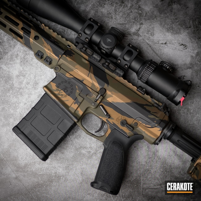 Cerakoted: S.H.O.T,Mil Spec O.D. Green H-240,Burnt Bronze H-148,Armor Black H-190,Tactical Rifle,Custom Camo