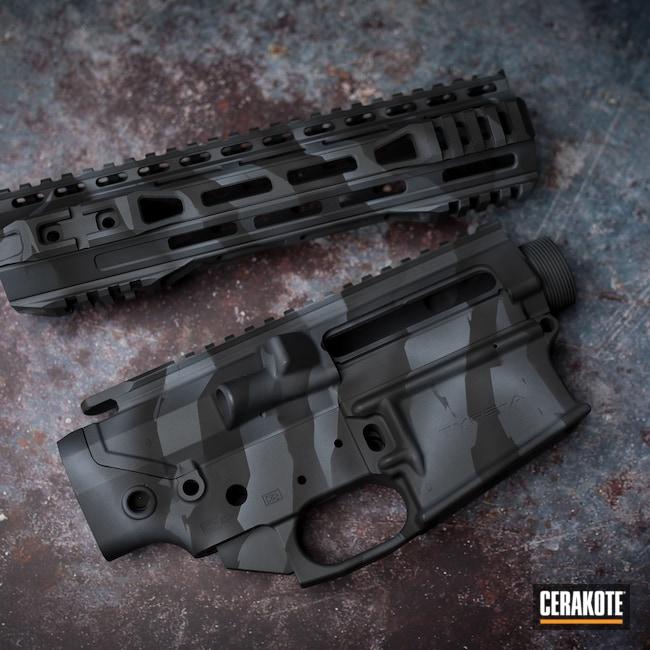 Cerakoted: S.H.O.T,Sniper Grey H-234,Upper / Lower / Handguard,Stripe Camo,Armor Black H-190,BATTLESHIP GREY H-213