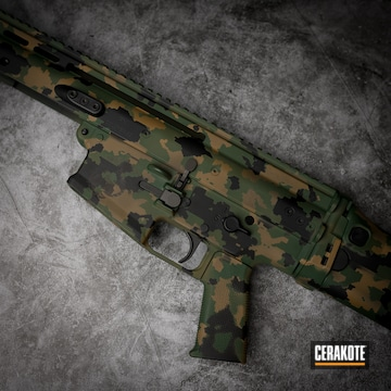 Cerakoted Multicam Scar Rifle In H-200, H-268 And H-190