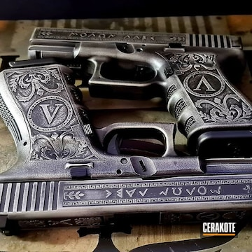 Cerakoted Custom Laser Engraved Glock In H-147 And H-146