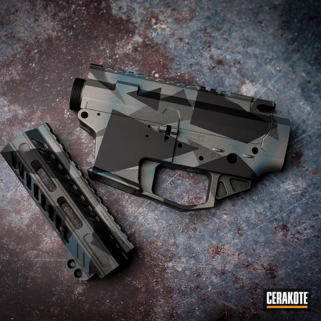 Cerakoted: S.H.O.T,Upper / Lower / Handguard,Tungsten H-237,Titanium H-170,Armor Black H-190,Splinter Camo,Blue Titanium H-185
