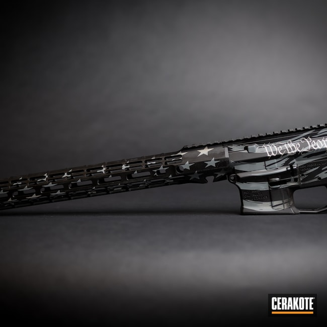 Cerakoted: S.H.O.T,Armor Black H-190,BATTLESHIP GREY H-213,Tactical Rifle,American Flag
