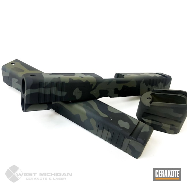 Cerakoted: S.H.O.T,MultiCam,Firearm,Camo,Glock,Firearms,MultiCam Black,MULTICAM® PALE GREEN H-339,Pistol Slides,Custom Camo,MULTICAM® DARK GREEN H-341,MULTICAM® DARK GREY H-345