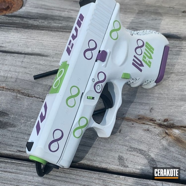 Cerakoted: S.H.O.T,Hidden White H-242,9mm,Bright Purple H-217,Zombie Green H-168,Stippled,Pistol,Hand Stippled,Glock,Joker Themed,Glock 26,IV Eva