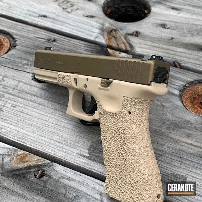 Cerakoted: S.H.O.T,MAGPUL® FLAT DARK EARTH H-267,.40 cal,Burnt Bronze H-148,Stippled,Pistol,Glock,Hand Stippled,Glock 22,.40