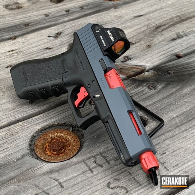 Cerakoted: S.H.O.T,RMR Cut,Pistol,Slide Cut,.40,Conversion Barrel,MULTICAM® DARK GREY H-345,9mm,.40 cal,RUBY RED H-306,Glock,Machined Slide,Holosun,Glock 22
