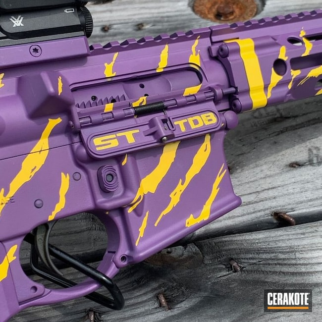 Cerakoted: S.H.O.T,Vortex,Corvette Yellow H-144,Tiger Stripes,Daniel Defense,Bright Purple H-217,Tactical Rifle,5.56,LSU,AR-15