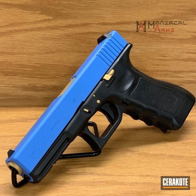 Cerakoted: S.H.O.T,Thin Blue Line,.40 cal,NOPD,Pistol,Glock,Glock 22,Custom Blue,Gold H-122