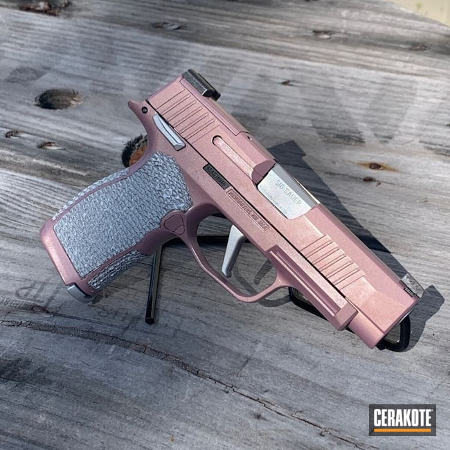 Cerakoted: S.H.O.T,9mm,Sig P365,PINK CHAMPAGNE H-311,Stippled,Satin Aluminum H-151,Pistol,Sig Sauer,Hand Stippled