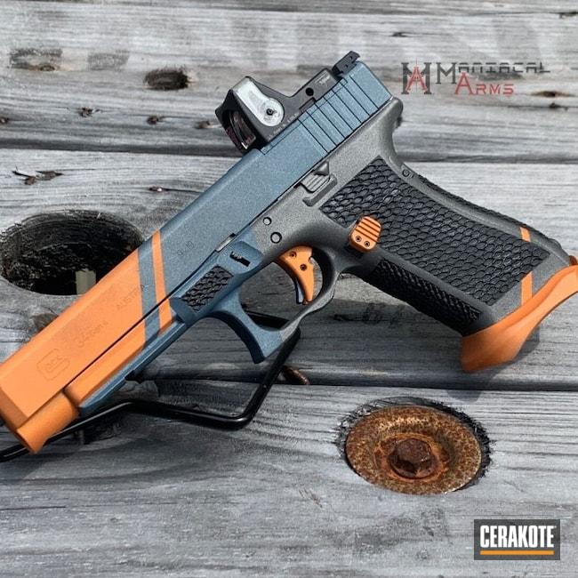 Cerakoted: TEQUILA SUNRISE H-309,S.H.O.T,Zev Trigger,Glock 34,Tungsten H-237,Stippled,Pistol,Hand Stippled,9mm,Graphite Black H-146,Glock,Competition Gun,Trijicon,Blue Titanium H-185