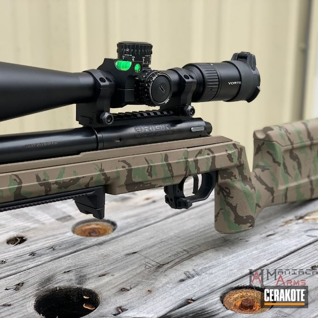 Cerakoted: Bolt Action Rifle,S.H.O.T,Rifle,6.5 Creedmoor,Vietnam Tiger Stripe Camo,Bighorn Arms Origin,Tiger Stripes,MAGPUL® FLAT DARK EARTH H-267,Pistol,Tactical Rifle,Glock 17,Bighorn Arms,Matching Set,Plum Brown H-298,Matching,9mm,HAZEL GREEN H-204,Jagged Tiger Stripes,Big Horn,Glock,Competition Gun,Glock 17C