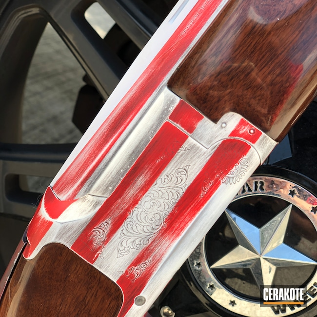 Cerakoted: Bright White H-140,S.H.O.T,NRA Blue H-171,Shotgun,USMC Red H-167,Browning,American Flag,Firearms