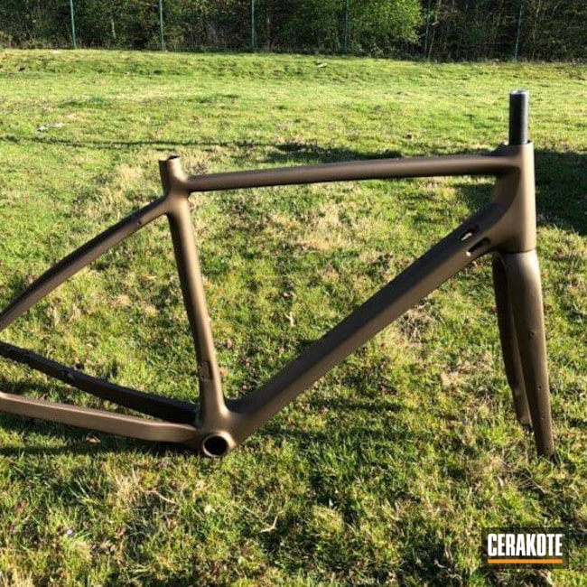 Cerakoted: Bike Frame,Carbon Fiber,Sports,Bicycle,Burnt Bronze C-148,More Than Guns,Bicycles
