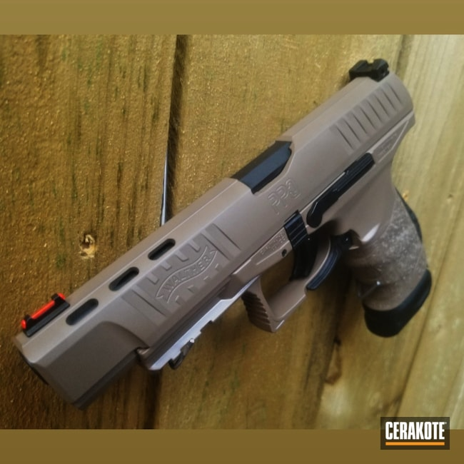 Cerakoted: S.H.O.T,9mm,Walther,Walther PPQ,Coyote M17 Tan E-170,BATTLESHIP GREY H-213,Pistol,ppq