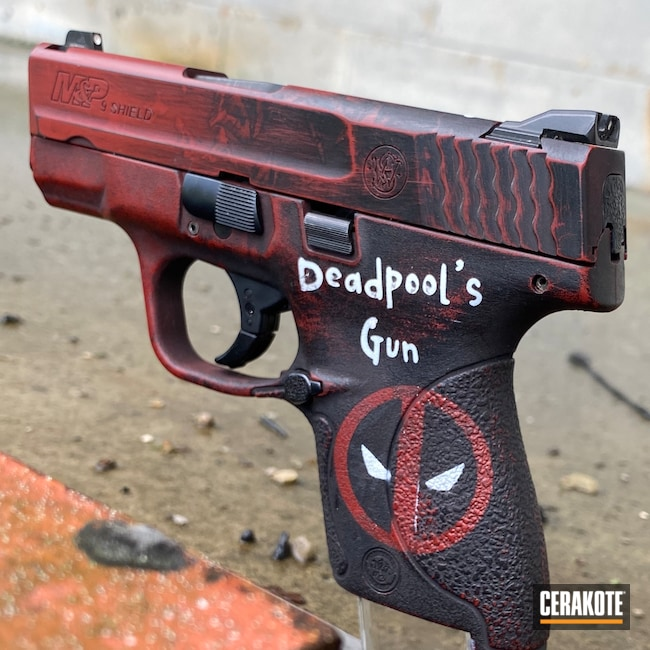 Cerakoted: S.H.O.T,9mm,Graphite Black H-146,Smith & Wesson,Stormtrooper White H-297,Crimson H-221,Deadpool,Pistol,Marvel Comic