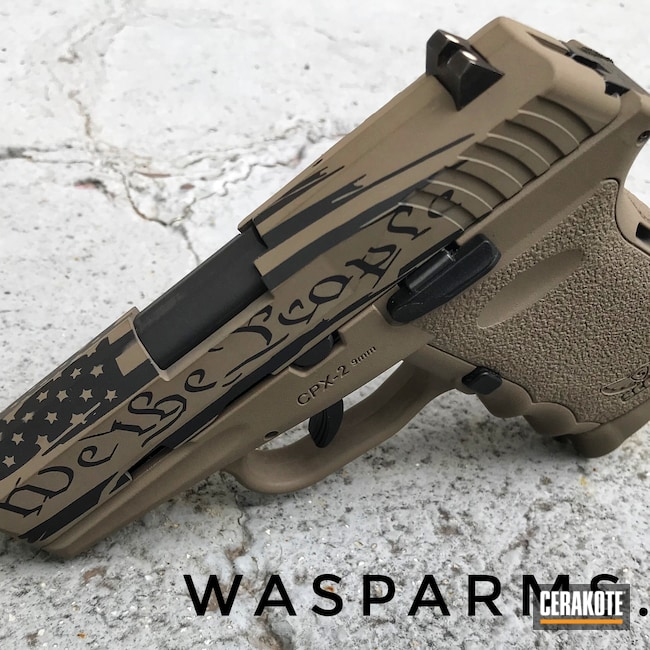 Cerakoted: S.H.O.T,9mm,Patriotic,MAGPUL® FLAT DARK EARTH H-267,Custom,SCCY,Mil Spec O.D. Green H-240,CPX-1,Distressed American Flag,Pistol,American Flag,Pistol Slide