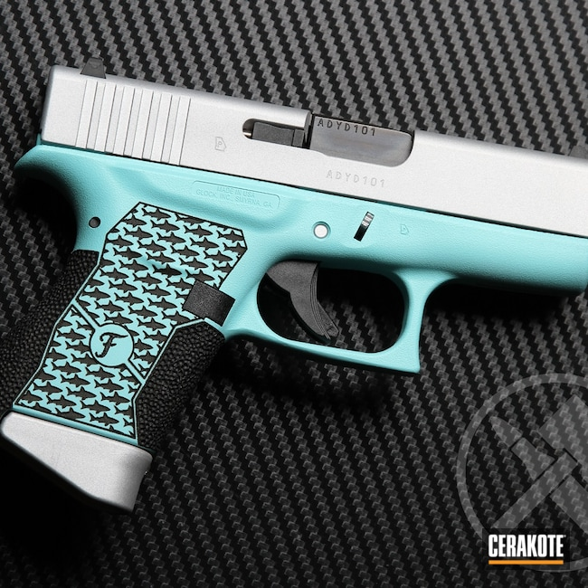 Cerakoted: S.H.O.T,Laser Stippled,Robin's Egg Blue H-175,Girls Gun,Shark,Pistol,Satin Aluminum H-151,Glock,Laser Engrave,Handguns,Glock 43