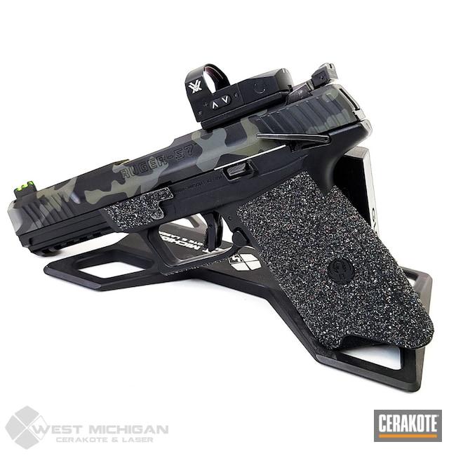 Cerakoted: S.H.O.T,Ruger,Armor Black H-190,Pistol,Firearms,MULTICAM® PALE GREEN H-339,Custom Camo,Gold H-122,Handgun,Firearm,Camo,Ruger-57,MULTICAM® DARK GREEN H-341