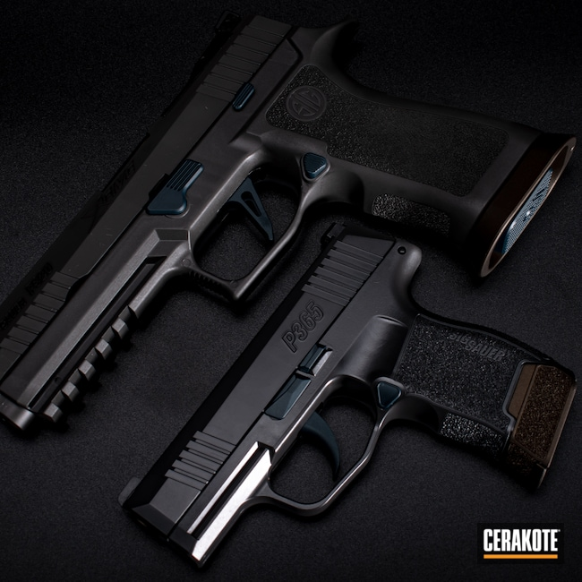 Cerakoted: S.H.O.T,Sig P365,x5,Sig Sauer X5,BLACKOUT E-100,Tactical,M17 COYOTE TAN E-170,p365,Pistol,Sig Sauer,Firearms,Midnight Bronze H-294,Matching Set,9mm,Firearm,Concrete E-160,Sky Blue H-169,Blue Titanium H-185