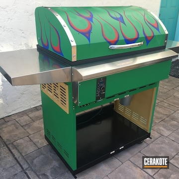Custom Flame Themed Bbq Grill